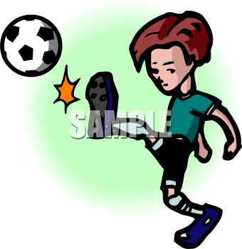 0511-0907-0818-5814 Cartoon of a Boy Kicking a Soccer Ball clipart image